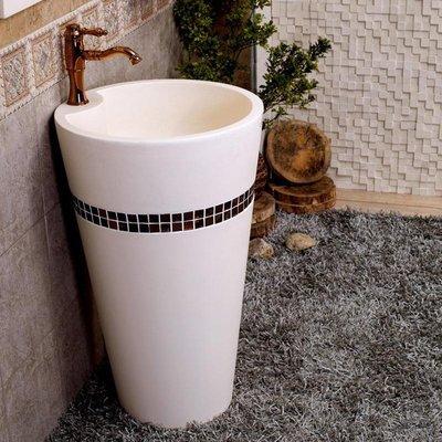5Cgo【宅神】含稅會員有優惠528965149950 歐式衛生間錐形壹體式洗臉盆人造石金屬立柱洗手池