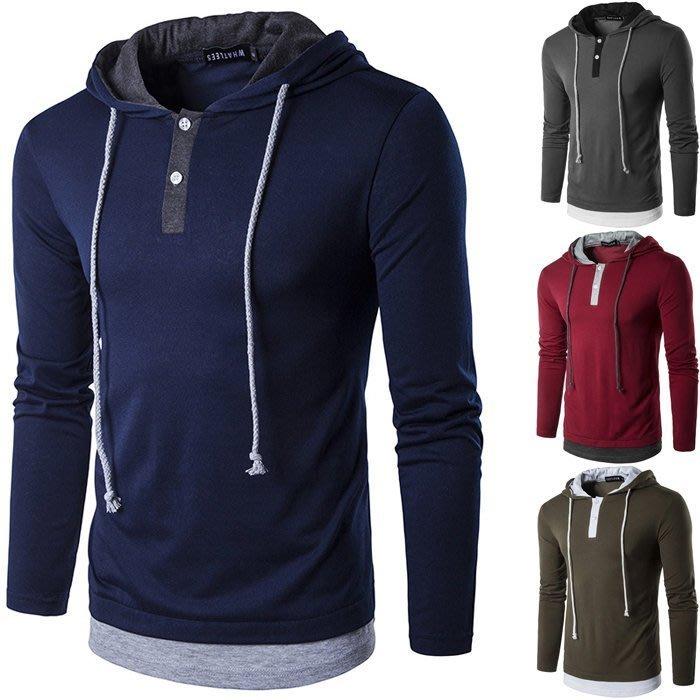 『潮范』 WS2 新款男士時尚街頭高街風假兩件T恤 連帽T恤 抽繩長袖T恤 素面T恤NRG41