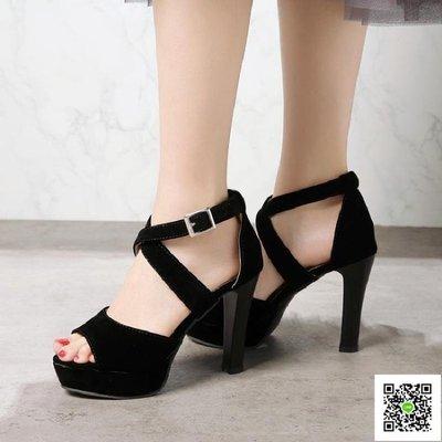 魚嘴高跟鞋 大碼女鞋40-41 42 43小碼32 33新款簡約涼鞋粗跟超高跟走秀模特鞋 玫瑰女孩