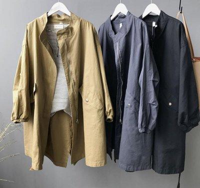 莎芭 韓版 秋季新款 中長款風衣外套 抽繩水洗棉外套 大衣