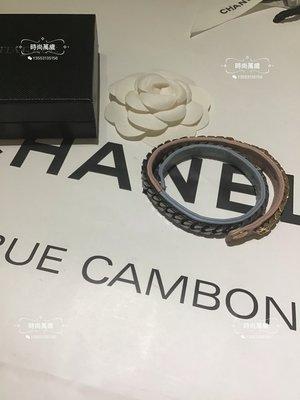 時尚萬歲 Vita Fede 正品超美粉紅色加水藍色雙色皮革三色金屬手鍊手環