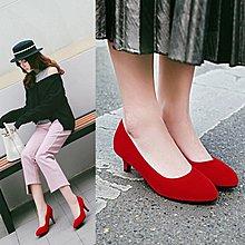 【菲兒生活館】大尺碼女鞋 2020新款百搭韓版小尖頭絨面工作鞋低跟鞋~2色