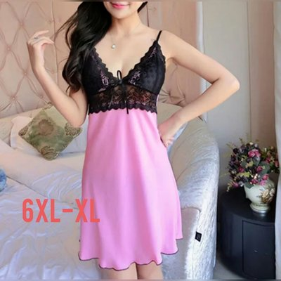 粉粉大尺碼~DLA02加大碼春裝新款性感冰絲睡衣6XL-XL