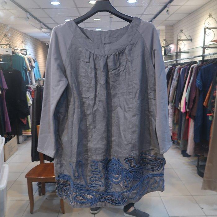 【子芸芳】棉麻花紋七分袖上衣