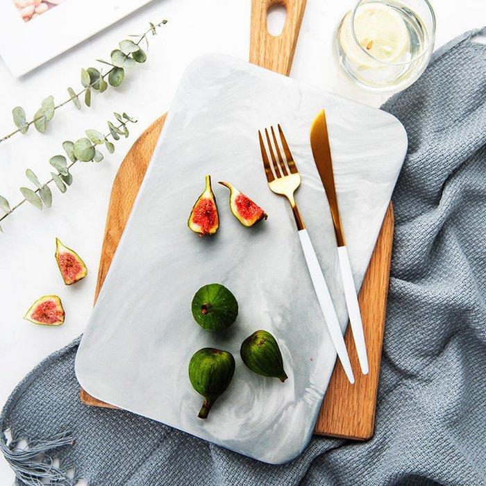 衣萊時尚-創意大理石紋西餐擺盤陶瓷平盤長方形托盤子水果砧板切菜板面包板
