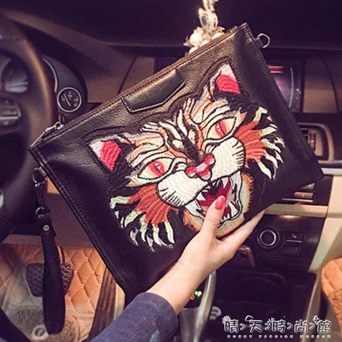 新款青年韓版手拿包 時尚男女手抓包信封包軟皮手包單肩