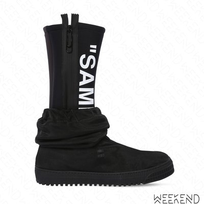 【WEEKEND】 OFF WHITE Quote Sample 雙層 兩穿 拉鍊 靴子 長靴 雨靴 黑色 18秋冬