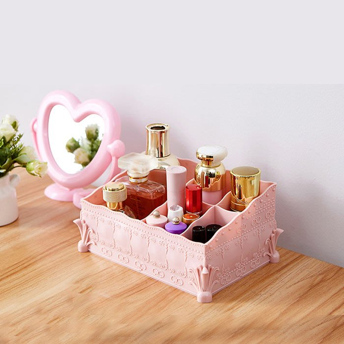 5Cgo【鴿樓】562618037968 簡約桌面遙控器化妝品收納盒辦公室整理盒塑料家用梳妝台桌上護膚品口紅收納盒浴室