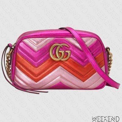 【WEEKEND】 GUCCI GG Marmont Small 小款 山形紋 肩背相機包 桃紅+紅+粉色 447632