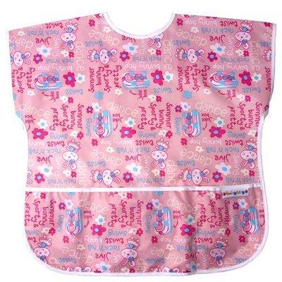 【魔法世界】台灣 Baby City 防水短袖畫畫衣(3-5A) 粉色兔子 BB32173P【保證公司貨】