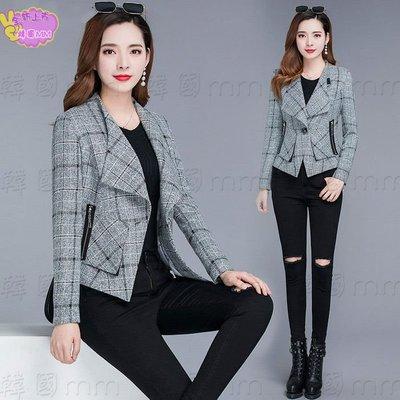 韓國MM=  短外套女春秋短款新款韓版修身氣質休閑格子小香風網紅小西裝 =針織外套/薄外套/牛仔外套/棒球外套/夾克