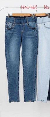 蘋果樹2館 韓國服飾▪HOWLuK寬版鬆緊腰帶九分牛仔褲 M XL