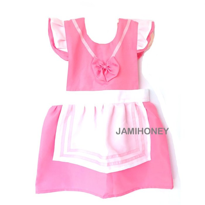 甜美粉白圍裙 兒童圍裙【JI2378】《Jami Honey》
