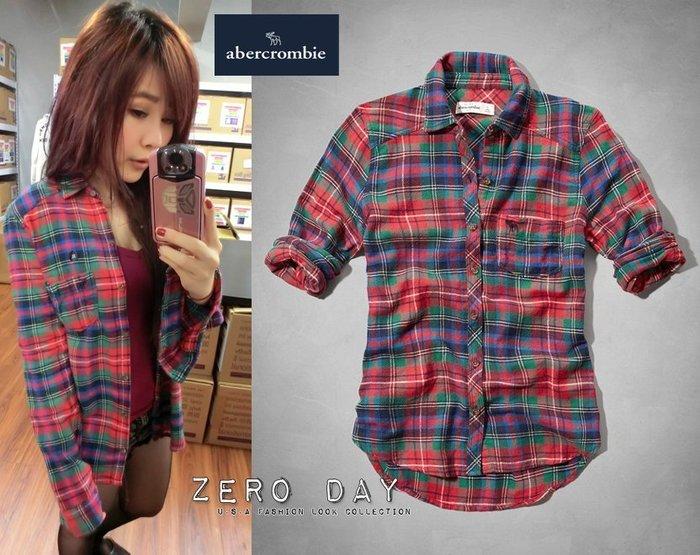 a&f abercrombie&fitch girl supersoft flannel shirt法蘭絨毛料襯衫紅色