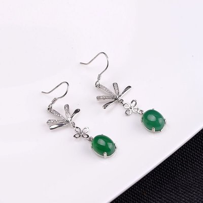 加恩 S925銀電鍍工藝耳墜 簡約時尚款女款銀鑲嵌綠玉髓耳飾yly676