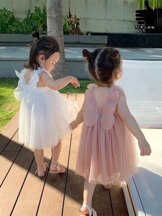 嬰童裝 女童網紗連衣裙 洋氣 蝴蝶翅膀 公主裙 童裝 寶寶連衣裙@井上松柏