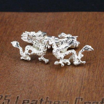 銀革手作 925 純銀 立體 飛龍 袖口鈕