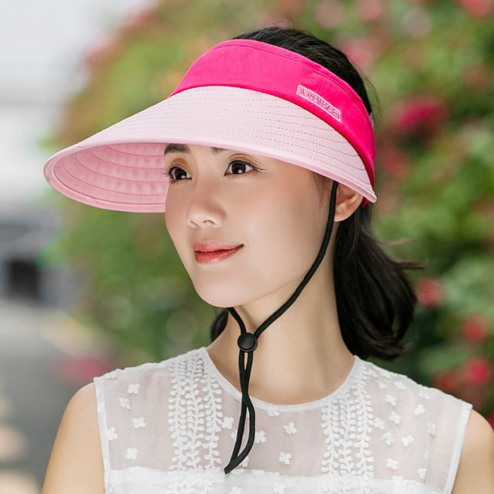 熱賣新品-遮陽帽女夏天防曬帽子折疊戶外出游騎車防紫外線太陽帽大檐空頂帽#遮陽帽#防曬帽