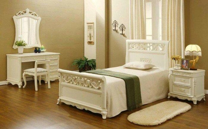 古典雕花單人床
