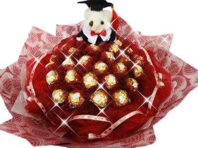 娃娃屋樂園~畢業學士熊+33朵金莎巧克力(網紗)花束-酒紅色 每束1450元/畢業花束