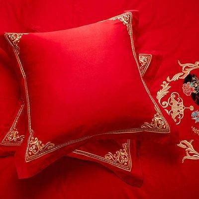新款婚慶大紅床上純棉抱枕結婚床紅色靠墊60婚房愛心靠枕一對拍2【最小尺寸】