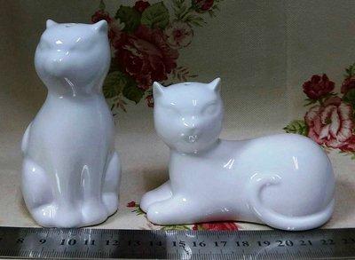龍廬-自藏2手出清~喵星人喜愛 陶瓷製品-貓咪造型調味罐2入-白色/ 可當擺脫收藏品/只有一套