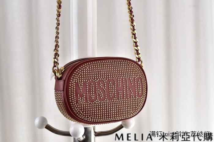 Melia 米莉亞代購 美國代買 MOSCHINO 莫斯奇諾 8月新品 斜背包 迷你包 滿版鉚釘 牛皮手工壓釘 荔枝紅