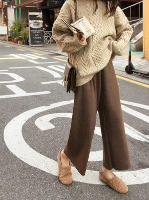 ☆Bubble Lady ☆  現貨【B2645】休閒 鬆緊腰 九分 厚實 毛呢 寬褲