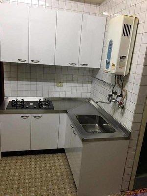 含稅L型311CM不鏽鋼檯面 +美耐門板+歐化桶總計$30600元整愛家廚具/流理台幫您省荷包