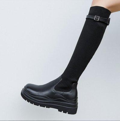 Fashion*厚底瘦瘦靴~小個子彈力不過膝長靴 針織拼接高筒彈力靴/跟高6CM 34-39碼 黑色