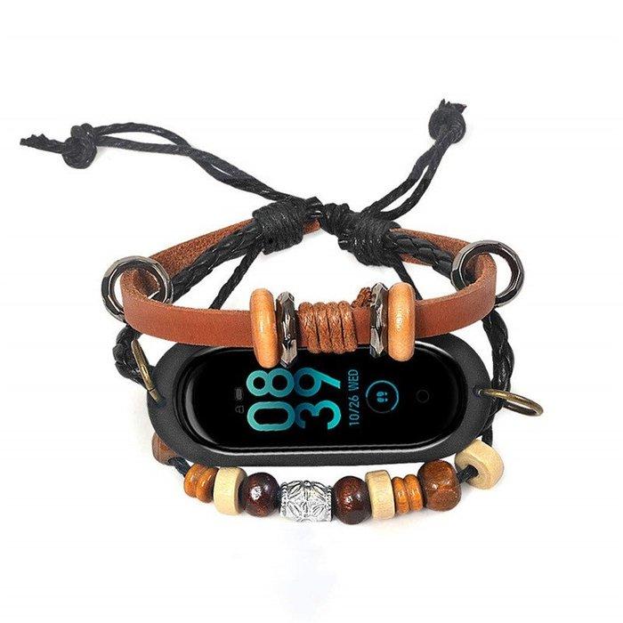 小米手環4 3 NFC 版 2 腕帶  替換腕帶 手工DIY系手繩 頭層牛皮 珠子手繩 智能手錶帶 替換腕帶