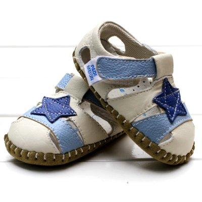 寶貝倉庫- 真皮-藍星星休閒包頭涼鞋-...