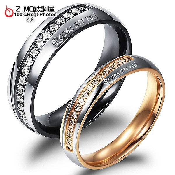 情侶對戒指 Z.MO鈦鋼屋 情侶戒指 水鑽戒指 白鋼戒指 水鑽對戒 情人節 紀念日 生日 刻字【BKY460】單個價