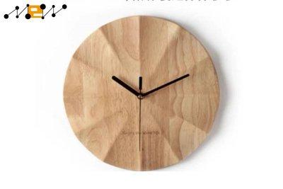 〈滿藝設計傢俬〉1267 簡約實木掛鐘客廳裝飾個性創意現代靜音鐘表家用藝術北歐時鐘掛表