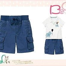 【B& G童裝】正品美國進口GYMBOREE Ribbed Waist Cargo Shorts 藍色卡其短褲18-24mos