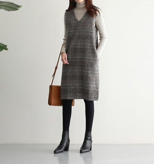 【艾蜜麗】秋冬千鳥格毛呢中長款背心裙 A1145
