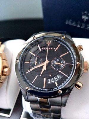 瑪莎拉蒂手錶MASERATI手錶CIRCUITO款,編號:R8873627001,黑色錶面黑色精鋼錶帶款