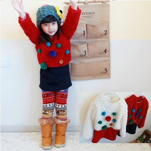 韓版《毛球拼接款》長版~毛絨長袖上衣~ 洋裝 (J5-5)
