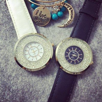 手錶 配飾 新款流動水鉆女式皮帶手表 韓版鑲鉆學生姐妹表休閑皮帶腕表女