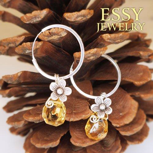 《玥心精品》花系列【黃水晶】耳環 - Essy Jewelry