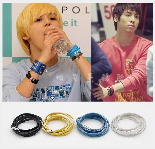 K-POP Market。韓國進口ASMAMA官方正品 SHINee 泰民 鐘鉉 同款多層次纏繞彩色皮革細手環手鍊