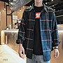 台灣現貨 / 韓系男友風 個性大格寬鬆長袖翻領襯衫 男上衣 男襯衫 襯衫 格子襯衫 休閒襯衫 長袖襯衫 長袖上衣 B28