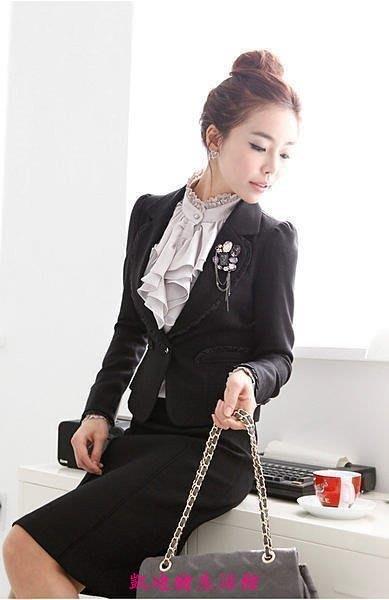 【凱迪豬生活館】女裝 韓版OL 職業裙裝 工作服套裙 修身通勤套裝大碼 整套價KTZ-200934