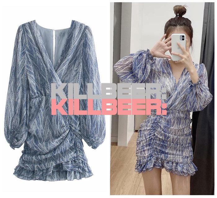 KillBeer:身為名媛的自傲之 歐美復古性感搖滾電光藍金絲動物蛇紋抓皺彈力荷葉包臀V領連身裙洋裝A072901