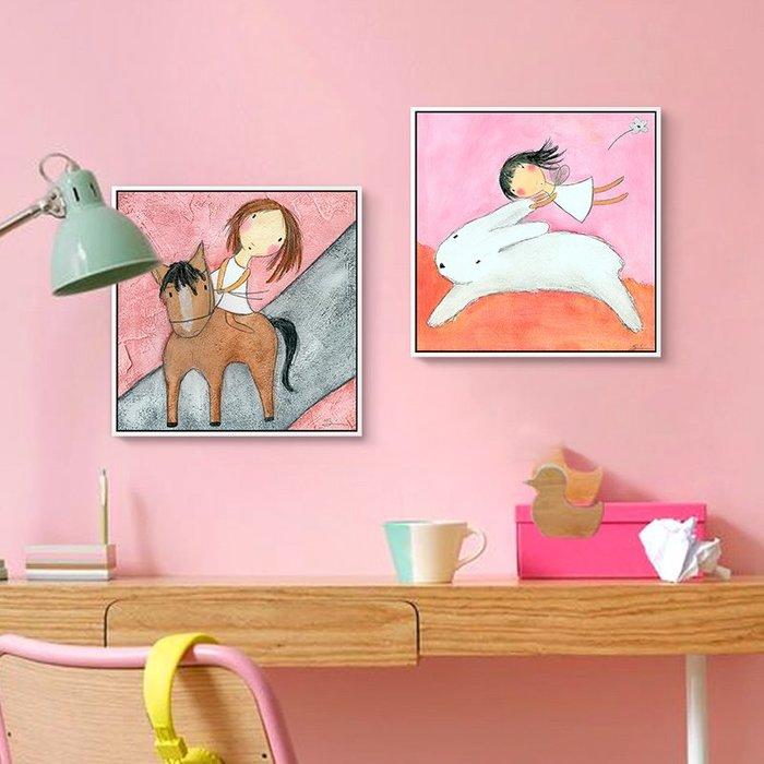 預售款-LKQJD-正版兒童房裝飾畫女孩公主房臥室床頭掛畫少女系卡通創意壁畫