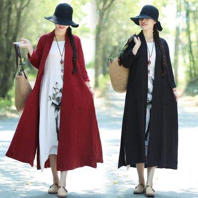實拍女秋季韓版寬鬆大尺碼女裝時尚舒適棉麻長款開衫外套洋裝