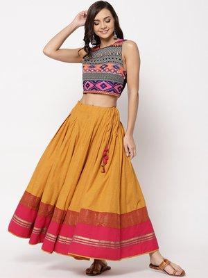 印度舞界 Fabindia  Cotton Flared Long Skirt 裙子 尺寸S