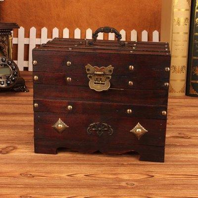 帶鎖小箱子 帶鎖仿古梳妝盒創意首飾品收納盒子簡約歐式木盒生日結婚禮品 新品特賣