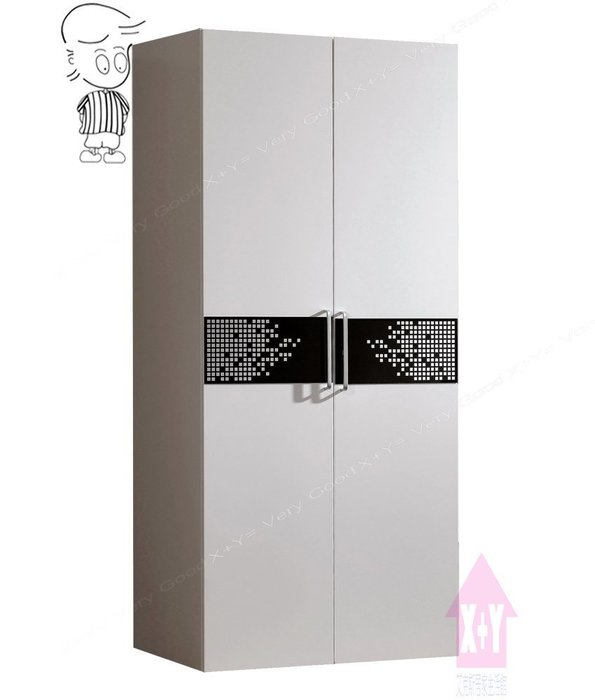 【X+Y時尚精品傢俱】現代衣櫃系列-波爾卡 2.7尺白色衣櫥(雙吊).衣櫃.摩登家具