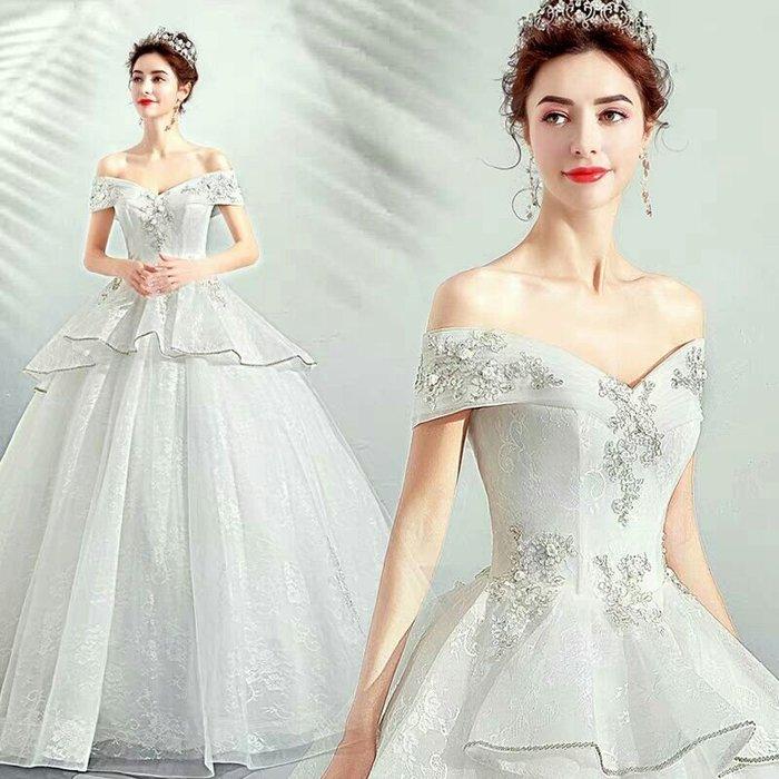 天使佳人婚紗禮服旗袍~~絕美婚紗一字肩刺繡